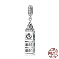New Collection 925 Sterling Silver British Big Ben Building Pendant Charm fit Charm Bracelets Jewelry Making SCC868