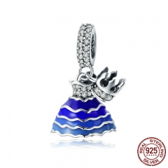 New Collection 925 Sterling Silver Princess Dress CZ Crown Charms Fit Charm Bracelets & Necklaces Chain Jewelry SCC794