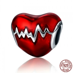 New Arrival 100% 925 Sterling Silver Love Heart ECG & Red Enamel Beads fit Charm Bracelets for Women Jewelry Gift SCC249