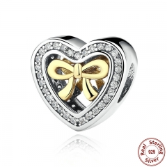 Original 925 Sterling Silver Openwork Heart Charms Fit Bracelet DIY Jewelry Accessories With Bow PAS300
