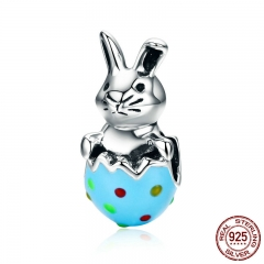 100% 925 Sterling Silver Easter Bunny Colorful Enamel Rabbit Charm Beads fit Women Bracelet & Bangles DIY Jewelry SCC531
