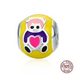 Design New Authentic 925 Sterling Silver Cute Bear Baby Color Enamel Beads fit Women Bracelets & Bangles Jewelry SCC299