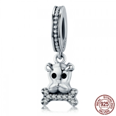 New Collection Genuine 925 Sterling Silver Lovely French Bulldog Charm Pendant fit Women Bracelet DIY Jewelry SCC501