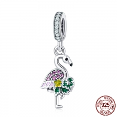 Authentic 925 Sterling Silver Flamingo's Wish Colorful Crystal CZ Charms Fit Bracelets & Necklaces DIY Jewelry SCC849