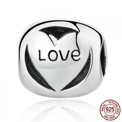 Authentic 925 Sterling Silver Pave Love Forever Charms Beads Fit Bracelet Fashion Jewelry Accessories Making SCC122