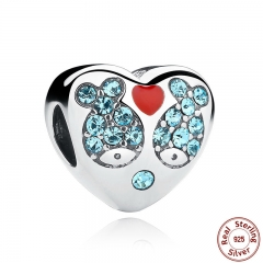 925 Sterling Silver Red Heart Blue Crystal Fish Heart Charms Fit Bracelet Jewelry Making Mother Gift SCC020