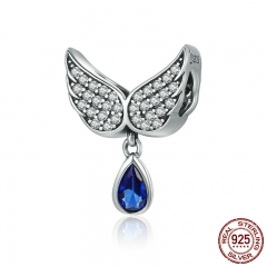 Hot Sale Authentic 925 Sterling Silver Angel Wings Feather Pendant Charm fit Women Bracelet amp Necklace Jewelry SCC481