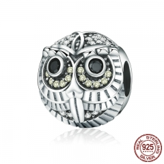 High Quality Authentic 925 Sterling Silver Lovely Vivid Owl Animal Beads fit Charm Bracelets for Women Jewelry SCC262