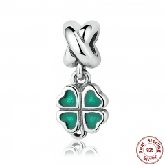 REAL 925 Sterling Silver GREEN FOUR-LEAF CLOVER DANGLE CHARM Fit Bracelet Necklace Women Fine Jewelry PAS304