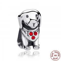 925 Sterling Silver Dog Animal Beads Charms With Red Created Stone for DIY Bracelet Jewelry Making Baby Gift SCC016