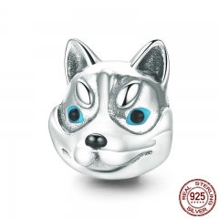 100% 925 Sterling Silver Dog Head Cute Husky Poodle Animal Charm Beads fit Charm Bracelet Bangles Jewelry Making SCC836