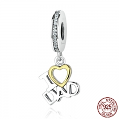 1 pcs 100% 925 Sterling Silver I Love DAD Love Heart Pendants fit DIY Charms Bracelets Beads & Jewelry Makings SCC052