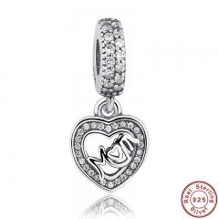 925 Sterling Silver MUM SILVER DANGLE WITH CUBIC ZIRCONIA Heart Pendant Charm Fit Bracelet Mother's Day Gift PAS017
