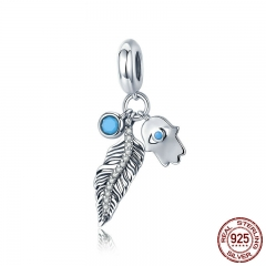 Genuine 925 Sterling Silver Bohemian Feather And Hamsa Hand Blue Eye Pendant Charm fit Charm Bracelet DIY Jewelry SCC880