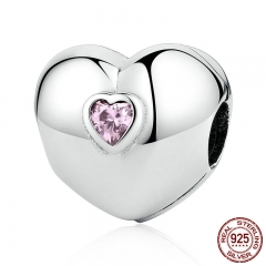 Hot Sale 100% 925 Sterling Silver Steady Heart, Pink CZ Clip Charms fit Bracelets & Necklaces Beads Accessories PSC034