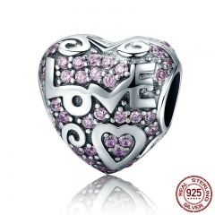 Authentic 925 Sterling Silver Love Song Love Pave CZ Charms Beads fit Women Bracelets Necklaces Jewelry Making SCC422
