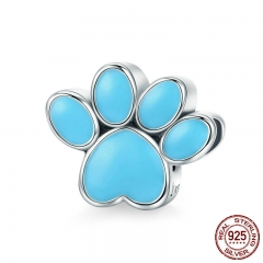 Authentic 925 Sterling Silver Animal Dog Footprints Enamel Charm Beads Fit Bracelets Necklaces Jewelry Making SCC766