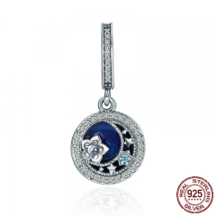 High Quality 100% 925 Sterling Silver Moonlit Star Blue Enamel Pendant Charm fit Charm Bracelet Jewelry Making SCC396