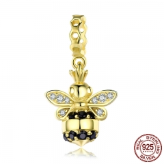 Popular 925 Sterling Silver Queen of Bee Gold Color Bee Pendant Charm fit Charm Bracelets & Necklaces DIY Jewelry SCC831