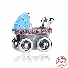 New Spring Collection 925 Sterling Silver Baby Stroller Blue Car Charms fit Bracelet DIY Accessories SCC010