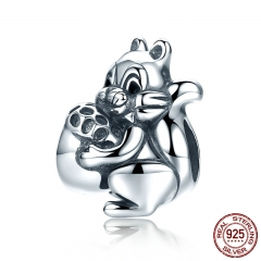 Genuine 925 Sterling Silver Naughty Squirrel & Pine Nut Animal Charm Beads fit Women Charm Bracelet Jewelry Gift SCC197