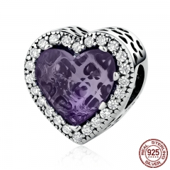 Real 925 Sterling Silver Elegant Purple Love Heart Beads Charms Fit Bracelets & Bangles Women DIY Accessories PSC057