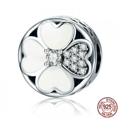 Authentic 925 Sterling Silver Heart-Shaped Petals of Love Clover Beads fit Charm Bracelets for Women Jewelry Gift SCC250