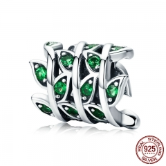 100% 925 Sterling Silver Tree of Life Green Tree Leaves Beads fit Women Bracelet & Necklaces DIY Jewelry Making SCC567