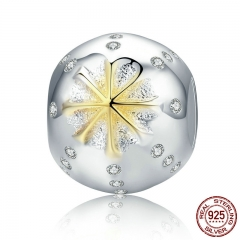 Autumn Collection 925 Sterling Silver White & Gold Edelweiss Clear CZ Beads fit Charm Bracelets Jewelry Gift SCC180