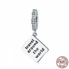 Hot Sale Genuine 925 Sterling Silver Travel Around World Passport Engrave Charm fit Bracelet & Necklace Jewelry SCC644