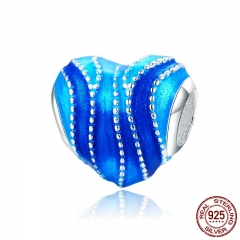 Romantic New 925 Sterling Silver Blue Enamel Heart Shape Charm Beads fit Bracelets & Necklaces Jewelry Making SCC787