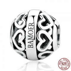 Exclusive Design Lover Gift 925 Sterling Silver Heart to Heart Openwork Bead Charms Fit Bracelets Fine Jewelry SCC079