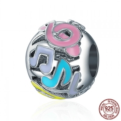 Authentic 925 Sterling Silver Colorful Notes Melody Round Charm Beads fit Women Charm Bracelet DIY Fine Jewelry SCC375