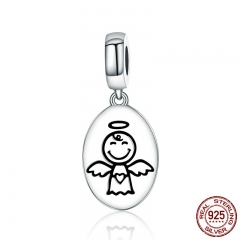 New Arrival Authentic 925 Sterling Silver Guardian Angel Charms Pendant fit Bracelet & Necklaces for Women Jewelry SCC328