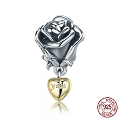Authentic 925 Sterling Silver Rose Flower with You in Heart Dangle Charm fit Bracelet Jewelry Valentine Day Gift SCC455