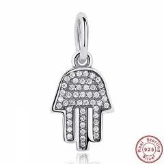 925 Sterling Silver Jewelry Symbol Of Protection Clear CZ Pendant & Charm Fit Bracelet Palm-Shaped Hamsa Dangle Gift PAS048