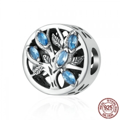 Hot Sale Genuine 925 Sterling Silver Tree of Life Beads, Light Blue Cubic Zircon Beads fit Charm Bracelet Jewelry SCC245