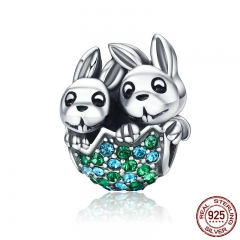 New Arrival 100% 925 Sterling Silver Easter Rabbit Animal Beads fit Clear CZ Women Charm Bracelet Jewelry S925 SCC201