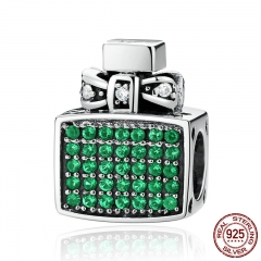 Authentic 100% 925 Sterling Silver Green Perfume Bottle Bow Knot Bead Charms Fit Bracelets Jewelry SCC093