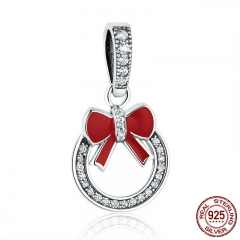 Christmas Gift 925 Sterling Silver Christmas Wreath Red Bow Knot Pendant Charms fit Women Bracelets Fine Jewelry SCC077