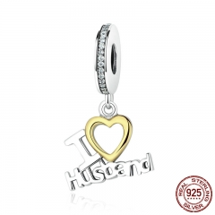 Romantic 925 Sterling Silver I Love Husband Heart Pendants fit Bracelet Gift for Lover Fine Jewelry SCC050