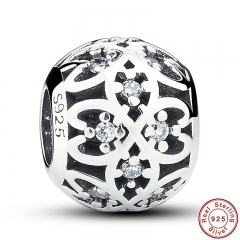 Original Beads Fit Charm Bracelet 925 Sterling Silver Intricate Lattice Openwork Ball With Clear CZ DIY Jewelry PAS060