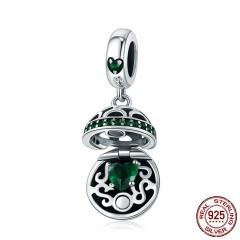 100% 925 Sterling Silver Love Gift Box Dangle Ball Charm Green CZ Charms Fit Bracelets & Necklaces DIY Jewelry SCC689-LB