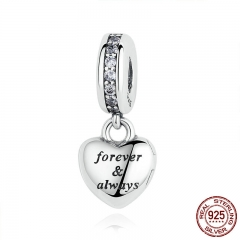 Birthday Gift 925 Sterling Silver My Beautiful Wife Forever & AlwayBeads Charms fit Bracelets Women Silver Jewelry PAS321