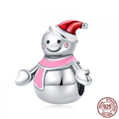 Authentic 925 Sterling Silver Miss Snowman Red and Pink Enamel Charms Fit Bracelets & Bangles DIY Jewelry Making SCC854