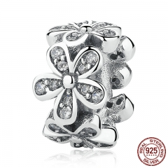 Genuine 100% 925 Sterling Silver Dazzling Daisies Flower & Clear CZ Charms fit Bracelets & Bangles DIY Jewelry PSC081