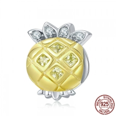 Genuine 925 Sterling Silver Summer Pineapple Shape Yellow Enamel Clear CZ Beads Fit Bracelets & Necklaces Jewelry BSC022