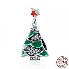 925 Sterling Silver Christmas Tree & Star , Clear CZ Charm Beads fit Women Bracelet Bangles Jewelry Christmas Gift SCC307