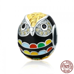 Genuine 925 Sterling Silver & Gold Enamel Animal Owl Charm Beads fit Women Charm Bracelet & Bangles Jewelry Gift SCC468