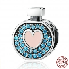 Romantic 925 Sterling Silver Soft Pink Heart Blue Crystals Perfume Bottle Charms Fit DIY Bracelets Jewelry SCC094